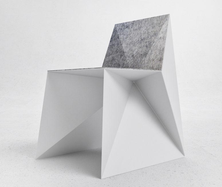 Q5 chair of aluminum and felt (via www.digsdigs.com)