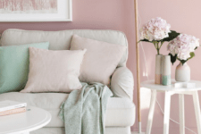 dusty pink is the main color in this space, and soft neutral shades take 30%, while mint is an accent color