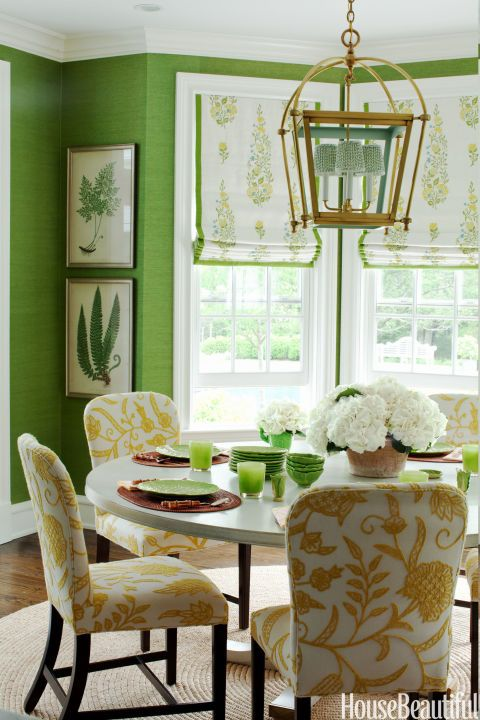 green is the main color in this organic space, white was added for a fresh look, and yellow and tan soften the space