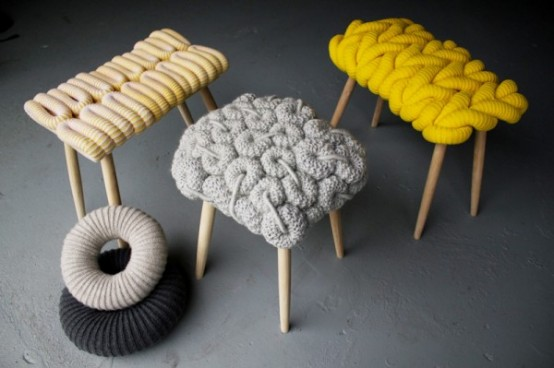 knitted stools by Claire-Anne O'Brien (via www.digsdigs.com)
