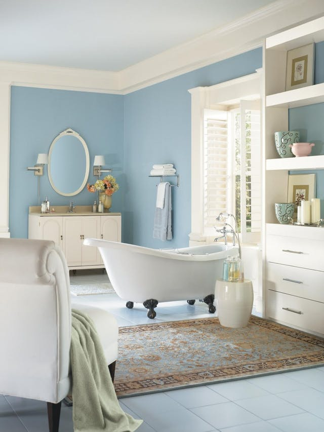 60 30 10 rule in home decor 25 ideas digsdigs for Blue and orange bathroom