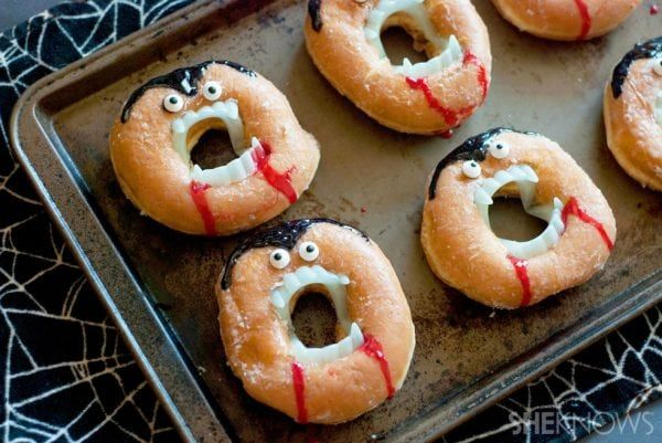 donuts would be perfect treats if they look like vampires