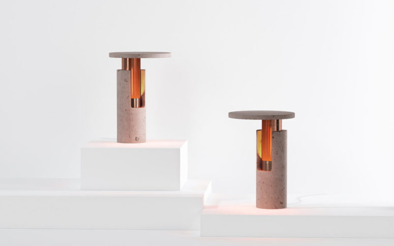 Ambra Rose Volcanic Rock Lamps