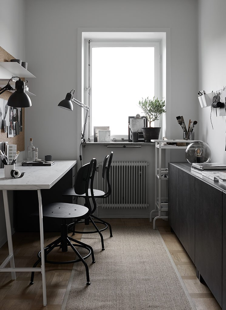 01-This-IKEA-home-office-is-monochromatic-and-decorated-completely-using-IKEA-items-the-space-is-shared Monochrome Home Office Furnished With IKEA