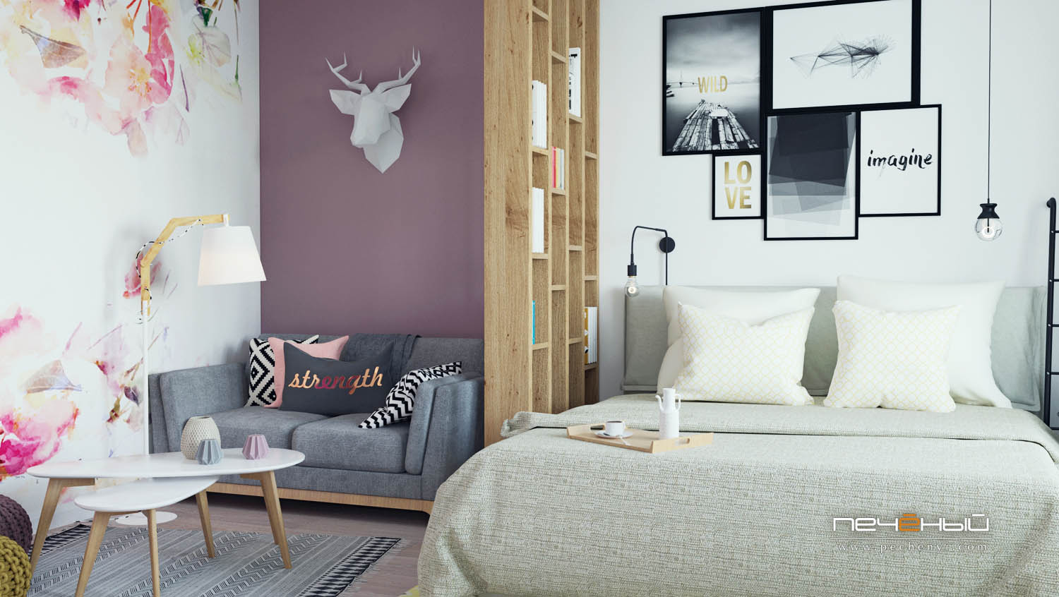 This modern apartment is created for young girl, it's full of creative solutions and cute girlish touches