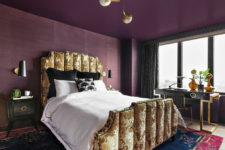 01 This stunning bedroom done in purple and gold is in a gorgeous art deco apartment and it's sure to take your breath away
