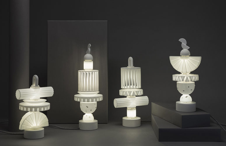 A light group created with eight basic forms stacked in different configurations - reminds of Greek sculptures to me