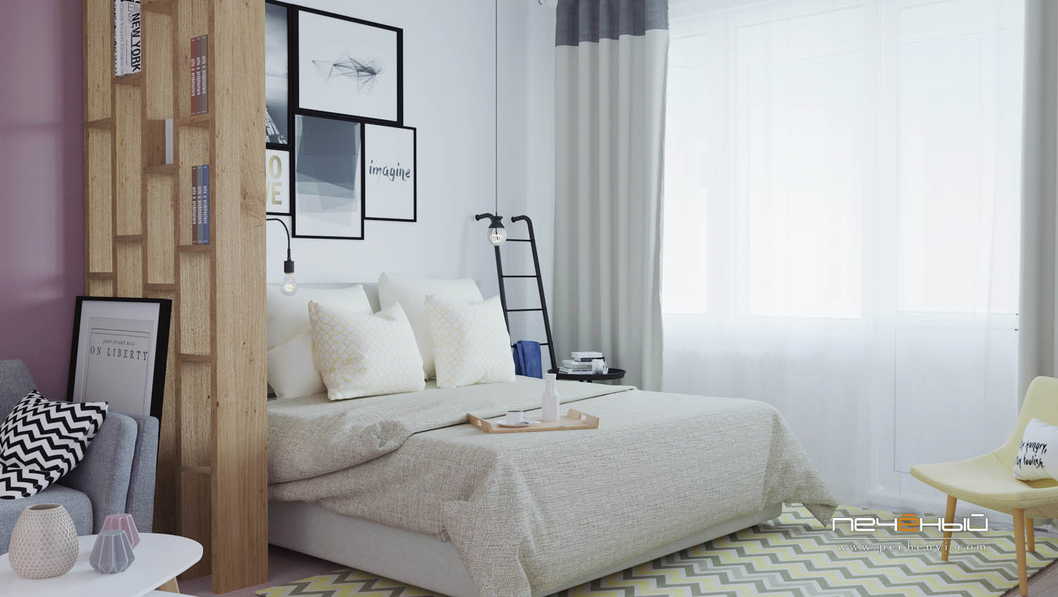 The sleeping space is taken by a large bed, wall sconces, a gallery wall and a ladder shelf for storage