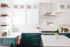 02 a chic kitchen with dark green and white cabinets, a white suwaby tile backsplash and open shelving