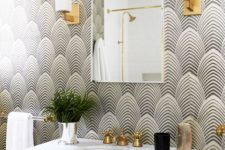 02 black and white geometric wallpaper is a nice idea for a bold art deco bathroom but keep in mind you need special finishes for wet spaces