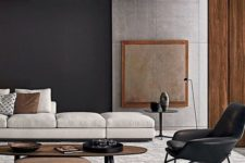 02 just one black wall makes a gorgeous statement in this modern space with earthy colors