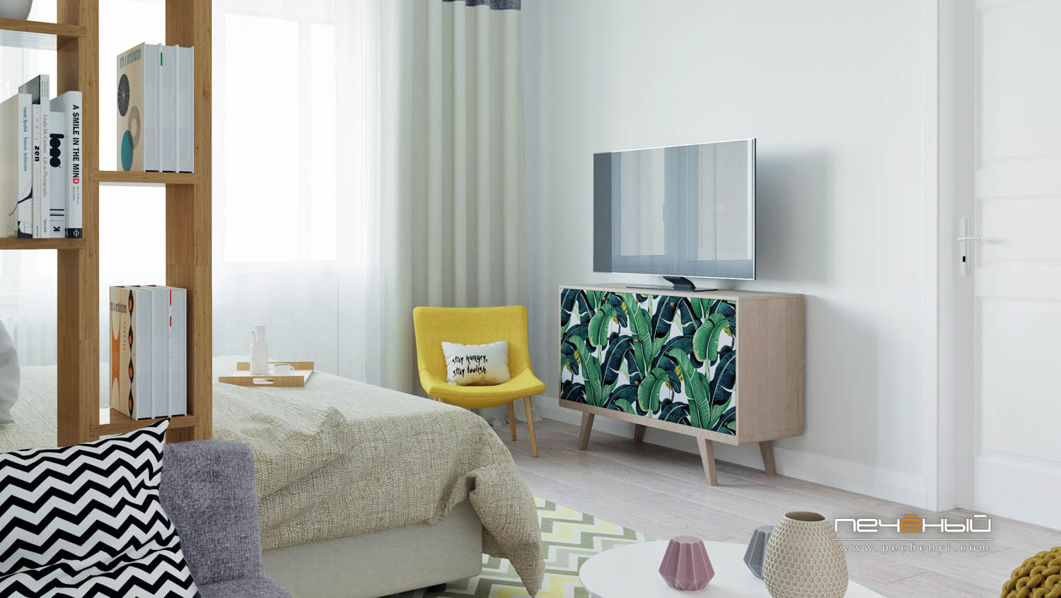 A colorful chair, a TV placed on a credenza with a banana leaf print and pastel textiles add a vivacious touch