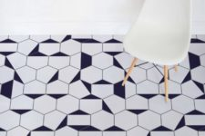 03 Berlin vinyl flooring uses the most popular geo print, which is hexagon