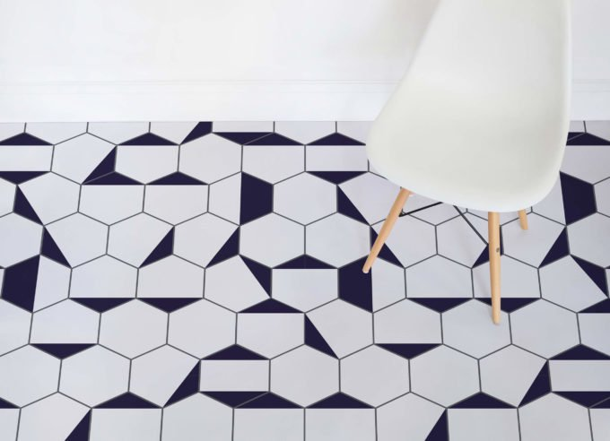 Berlin vinyl flooring uses the most popular geo print, which is hexagon