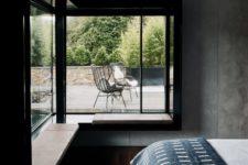 cozy benches near windows