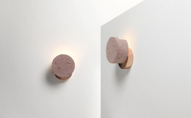 The wall version consists of two round volumes, a copper base attaches to the wall