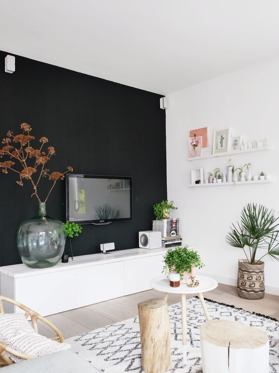 black feature wall living room 26 gorgeous living rooms with black walls digsdigs 23378