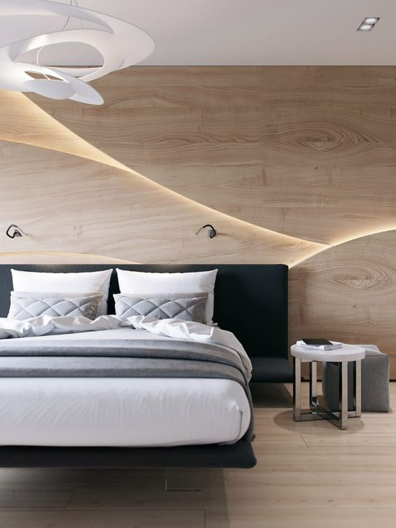 a chic wooden 3D headboard wall with lights creates a bold wow effect, and a floating bed adds chic