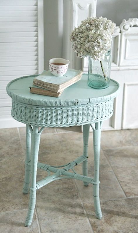 a wicker side table painted mint is a gorgeous idea and a colored piece