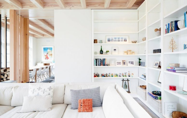 A large shelving unit is a great piece for storage, and as it's white it doesn't seem so large or bulky