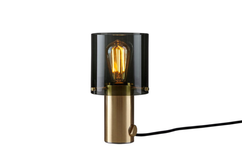 Here's a satin brass and anthracite glass lamp - gold and black look chic