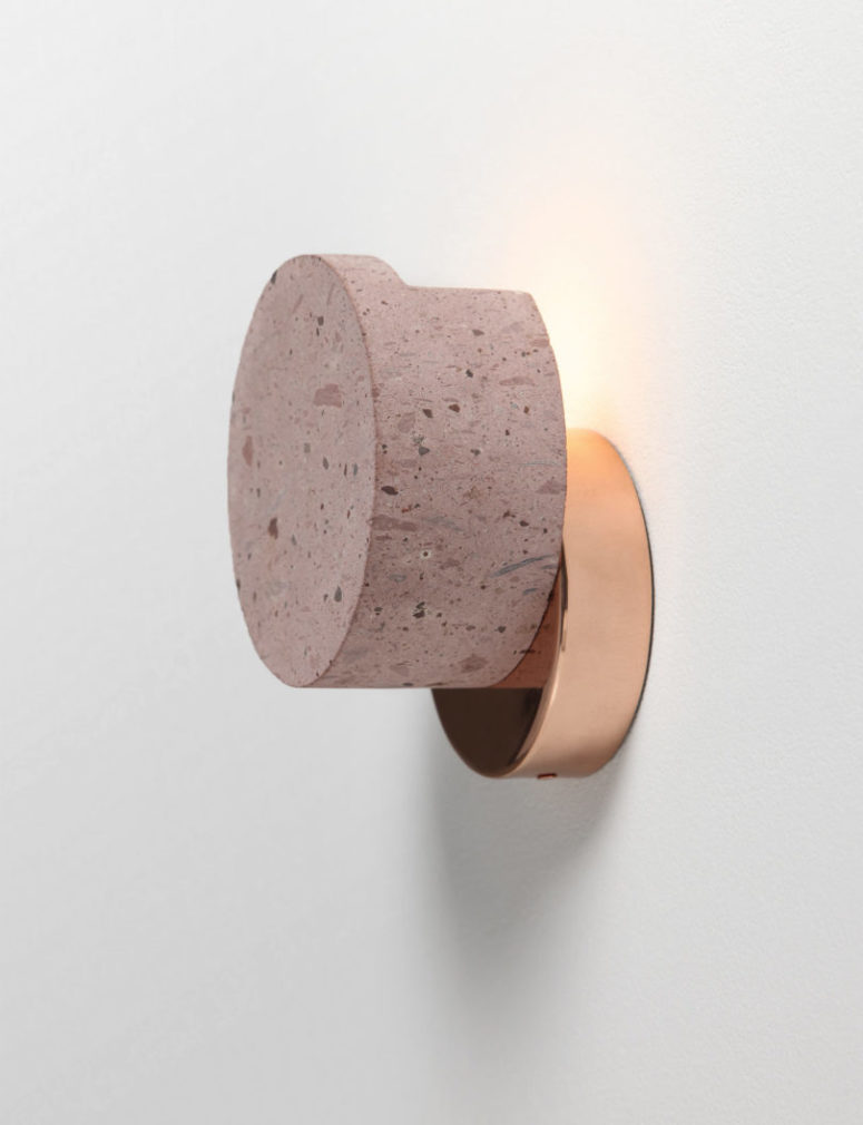 The cantera part rests on the copper part attached to the wall and looks cool