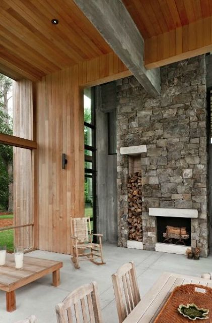 a chalet-inspired retreat features a stone-clad fireplace with firewood storage for an interesting touch