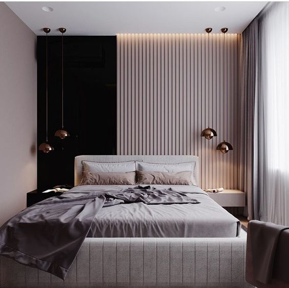 a headboard wall with vertical wooden slats and a black part makes the space unique, and an upholstered bed makes it softer