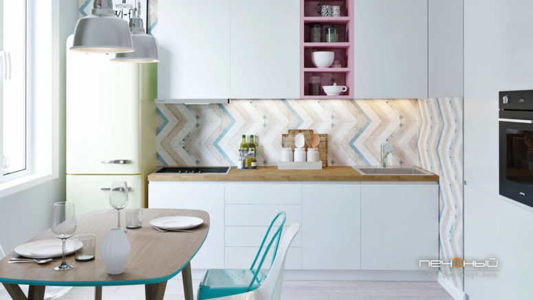 A geometric clad backsplash, a light green fridge, a pink shelf and pastel shades create a cool and soft feel, which is great for a girlish space