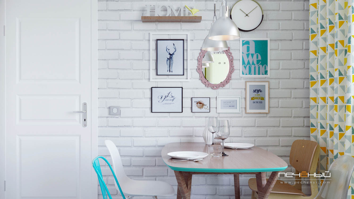 A brick wall makes the space more interesting, and it's accentuated with a gallery wall