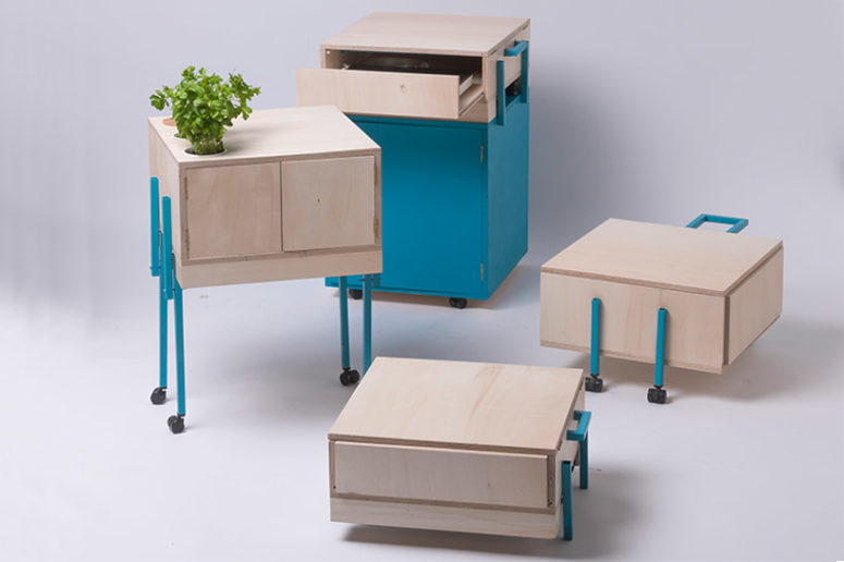 The drawers can be stacked together or become independent elements with a foldable legs mechanism