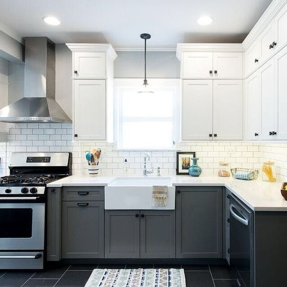 Grey Kitchen Cabinets With Black Appliances: 27 Trendy Two-Toned Kitchen Designs You'll Like