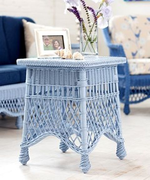 such a blue wicker side table or stool can also fit a beach cottage