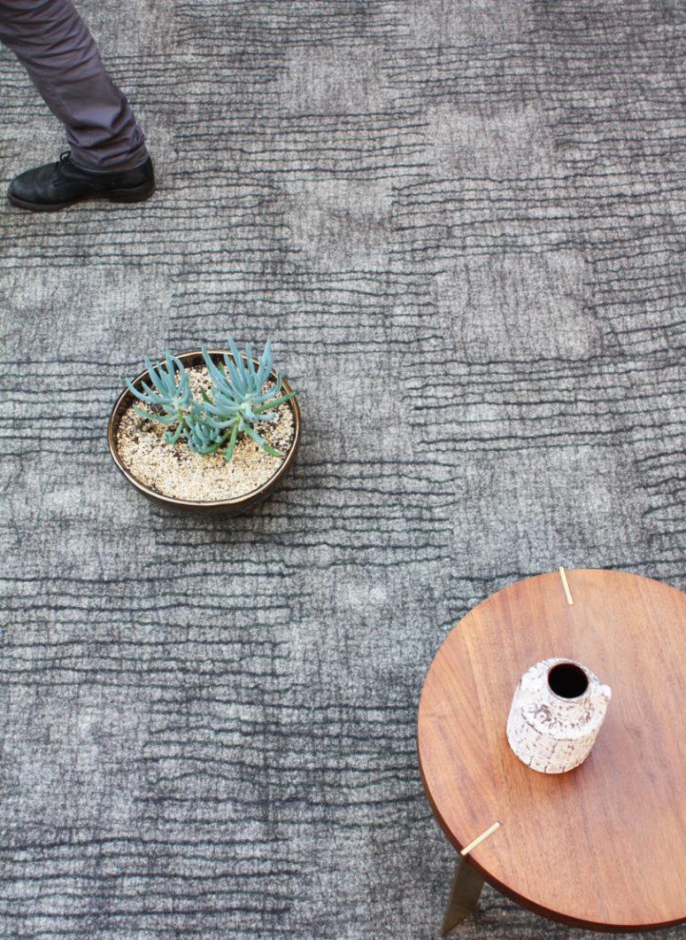 Link is a neutral textural rug that catches an eye with its look