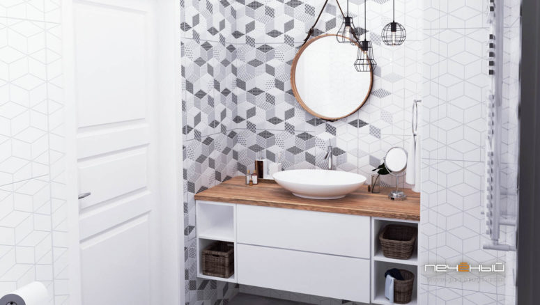 The bathroom is monochrome, with geometric tiles and Scandinavian lamps hanging from the ceiling