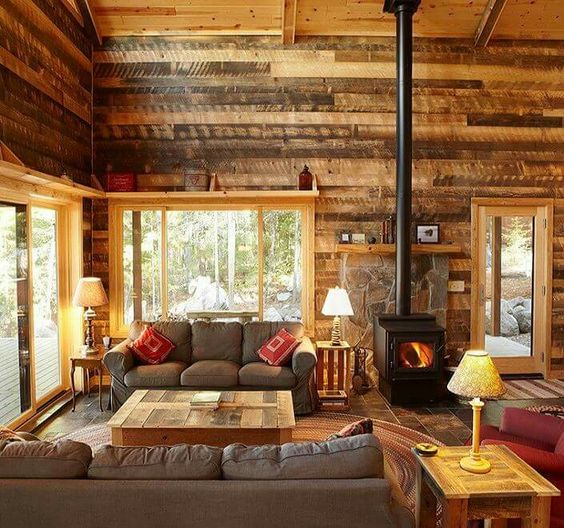 25 Inviting Living Rooms With Wood Walls