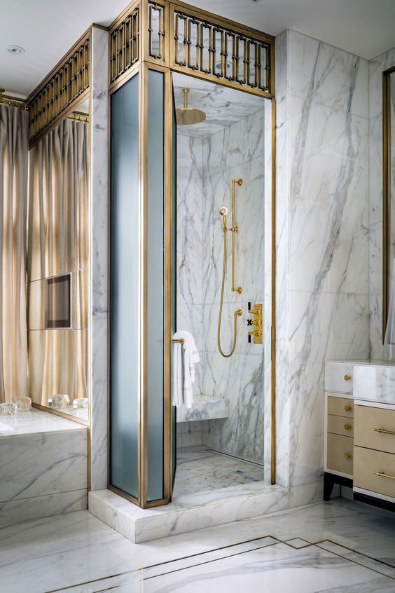 marble is a timeless idea for any bathroom including an art deco one, it looks exquisite