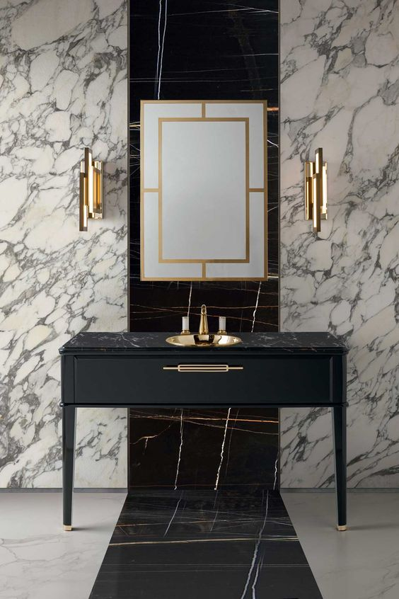 white and black marble for decorating the walls and floors is a gorgeous idea to rock in your art deco space
