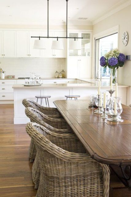 wicker chairs in a natural shade are right what you need to add a farmhouse feel to a modern kitchen