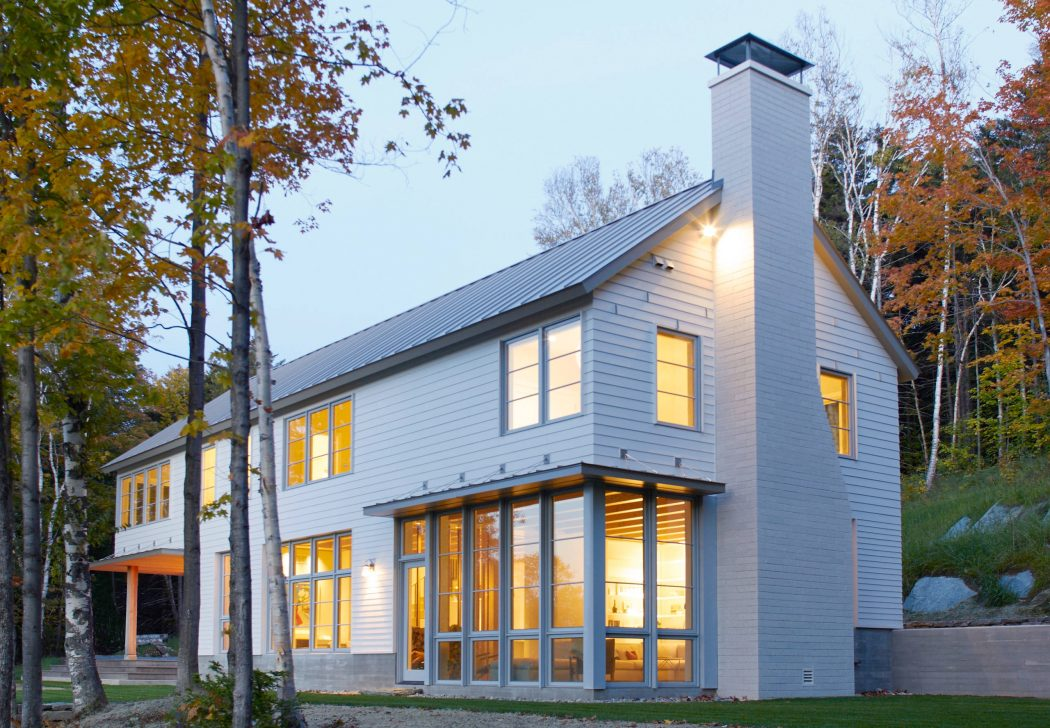 This is how the house looks from outside, all the windows around catch the gorgeous views of Vermont