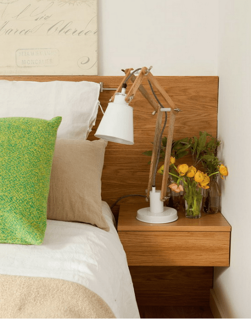 The headboard features floating nightstands that are suitable for some small stuff