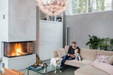 10 this modern built in fireplace is like a sculptural element in the living room