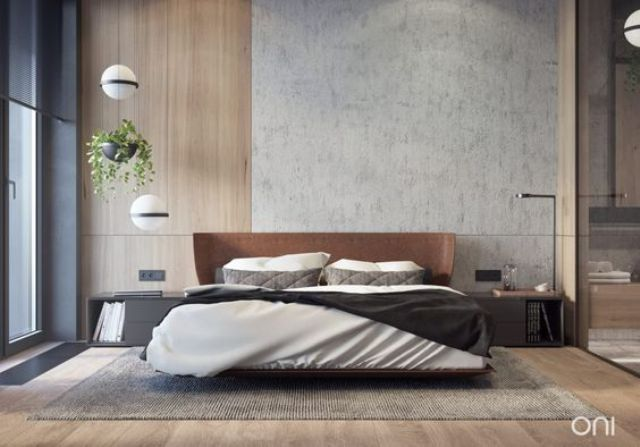make the headboard wall bolder using concrete and wood panels, and add texture with a leather upholstered bed