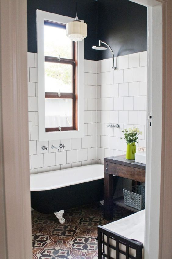 white tiles, black top and cool mosaic tiles on the floor is a chic and bold idea for an art deco space