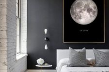 12 a modern space with an industrial feel is made more interesting with a black wall with an artwork and a white brick wall