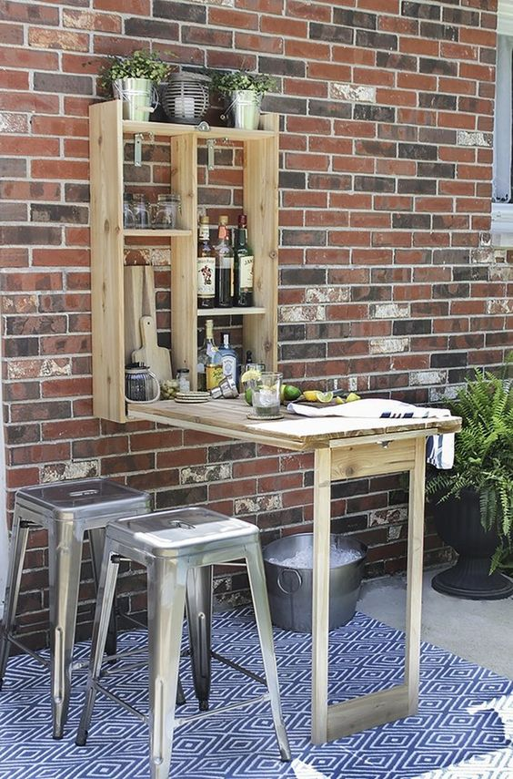an outdoor murphy bar is a nice idea for those who don't have enough space