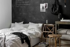 13 a Scandinavian space with a chalkboard headboard wall for a creative dialogue between the members of the family and some art