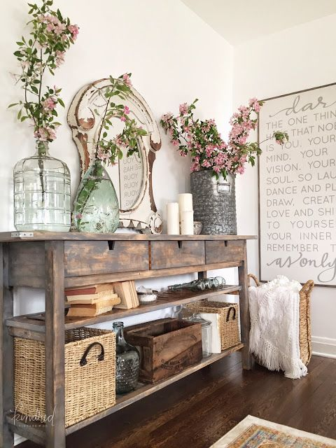IKEA Norden sideboard makeover into a stained wooden console for a farmhouse entryway