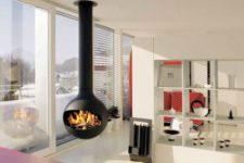 16 a modern space is spruced up with a hanging fireplace looks gorgeous
