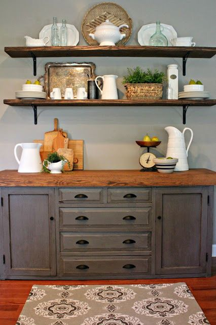 stained wooden shelves and a matching countertop for a farmhouse kitchen nook
